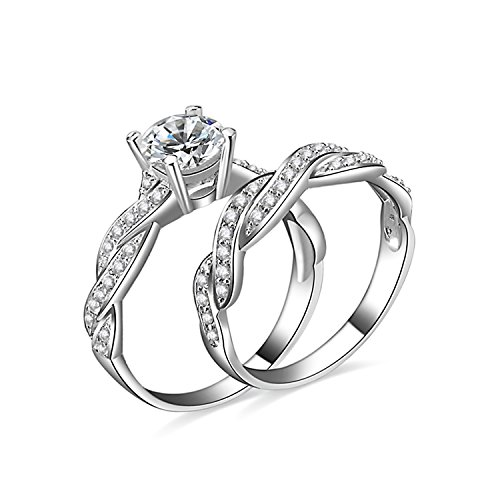 JewelryPalace 15ct Infinity Cubic Zirconia Anniversary Promise Wedding Band Engagement Ring Bridal Sets