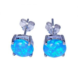 JunXin Three Color 925 Sterling Silver Round Cut Opal Stud Earring 7.5MM
