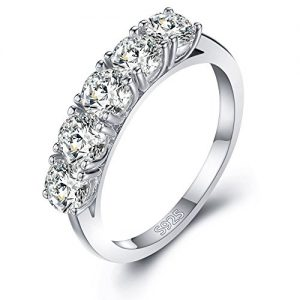 Mozume Women's Five Stone 4mm Cubic Zirconia Round Cut Engagement Ring CZ Wedding Band Anniversary 925 Sterling Silver