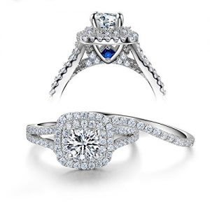 Newshe 2ct Round Created Blue Sapphire White Cz 925 Sterling Silver Wedding Engagement Ring Set Sz 5-10