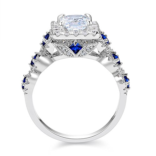 Newshe 3pcs 2 5ct Princess White Cz Blue 925 Sterling Silver Wedding Engageme