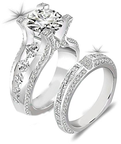 Newshe Jewellery 3ct Round Cz 925 Sterling Silver Wedding Band Engagement Ring Sets
