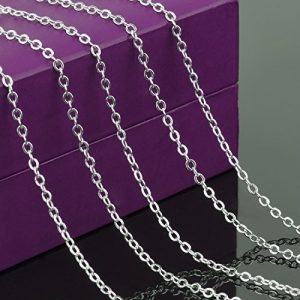 Outus 20 Inch Iron Lobster Clasp Link Chain Necklaces Silver Plated, 12 Pack