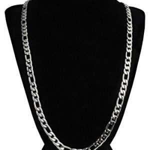 Silver Figaro Chain Stainless Steel For Men + Gift Case