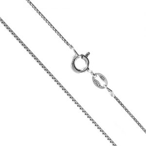 Sterling Silver 1mm Box Chain Necklace, 14″ – 36″
