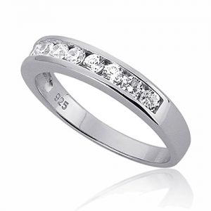 Sterling Silver Channel Set Round CZ Stackable Wedding Band Engagement Ring