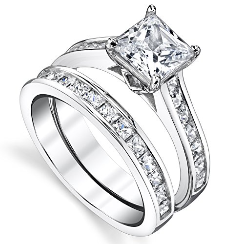 sterling silver princess cut bridal set engagement wedding ring - Bridal Set Wedding Rings