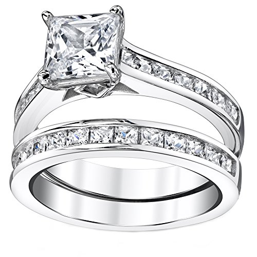 sterling silver princess cut bridal set engagement wedding ring - Wedding Ring Princess Cut