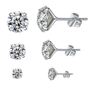 YAN & LEI Sterling Silver Brilliant Swarovski Crystal Studs Earrings Set of 3 Pairs in 4 mm, 6mm and 8 mm