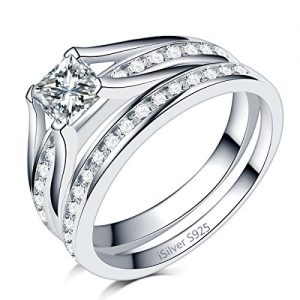 iSilver 2.0 Carat Princess Cut Wedding Engagement Ring, 925 Sterling Silver