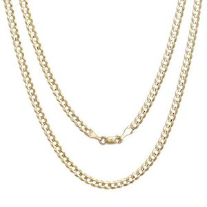 10k Fine Gold Curb Cuban Chain Necklace for Men and Women, 0.16 Inch (4mm)