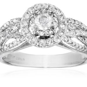 10k White Gold Round-Cut Diamond Engagement Ring (1 cttw, I-J Color, I2-I3 Clarity)