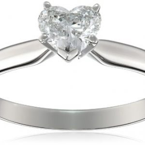 14k White Gold 1/2 carat Heart Shape Solitaire Engagement Ring