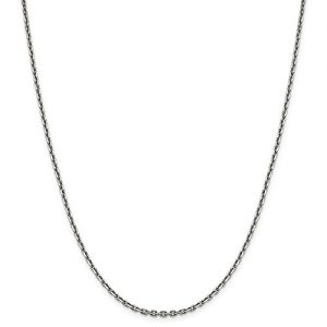 14k White Gold 2.5mm Diamond-Cut Cable Chain