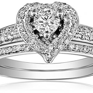 14k White Gold Heart Diamond Bridal Ring Set (0.56 cttw, I-J Color, I1-I2 Clarity)