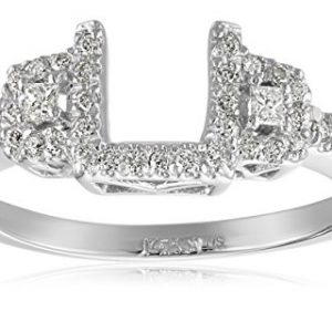14k White Gold Round and Princesscess Diamond Solitaire Engagement Ring Enhancer (1/4 carat, H-I Color, I1-I2 Clarity)