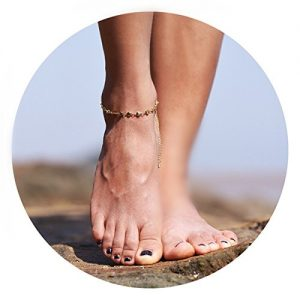 Befettly Womens girls Adjustable Double Layer Handmade Dainty Anklet 14K Gold Fill Boho Beach Foot Chain Wafer Boho