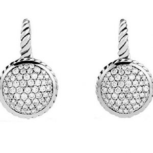 DAVID YURMAN STERLING SILVER 11 mm ROUND DROP PAVE DIAMOND 1.01 CTW EARRINGS NEW