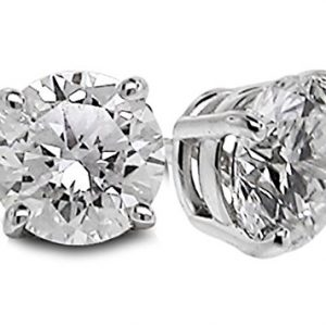 Diamond Studs Forever Solitaire Diamond Earrings (1/2 Ctw, AGS Certified, GH-SI2/I1) 14K White Gold