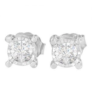 Sterling Silver Miracle Plated Round-cut Diamond Stud Earring (1.00 CTTW, H-I color, I2-I3 clarity)