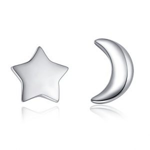 "Sterling Sliver Earring Studs ""Micro"" Star And Crescent Moon Earrings for Ladies Asymmetric Jewelry"