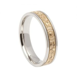 Two Tone Celtic Warrior Wedding Band Silver & 10K Made in Ireland