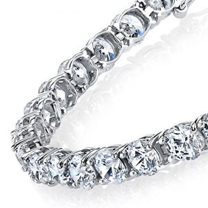 4mm Traditional Classic Round Cubic Zirconia 925 Solid Sterling Silver Diamond Tennis Bracelet
