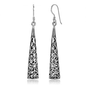 925 Oxidized Sterling Silver Bali Inspired Open Filigree Puffed Triangle Dangle Hook Earrings 2″