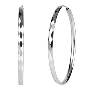 925 Sterling Silver Diamond-Cut Hoop Earrings, 3mm Wide, 30mm-60mm Diameter