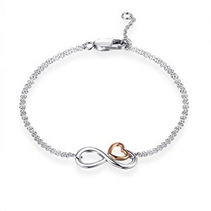 925 Sterling Silver Infinity Endless Love Heart Symbol Charm Adjustable Ankle Bracelet for Women