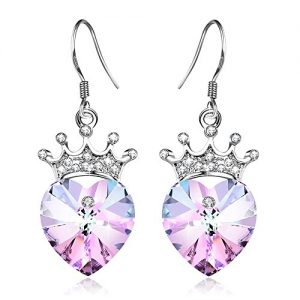 Angelady Purple Pink Crown Drop Earrings Jewelry with S925 Sterling Silver Hook,Crystal from Swarovski