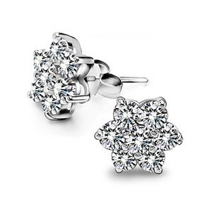 Christmas 925 Sterling Silver Snowflake Cz Stud For Girl Or Women Let Your Ears Dazzling