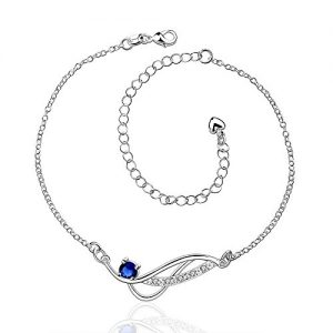 """Dew on Willow Leaf"" 925 Sterling Silver Sparkle Zircon Charms Anklet Beach Foot Adjustable Ankle Bracelet"