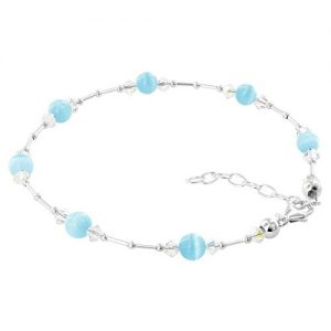 Gem Avenue Sterling Silver Swarovski Elements Cool Blue Cats Eye with Crystal Ankle Bracelet 9 to 10.5 inch Adjustable