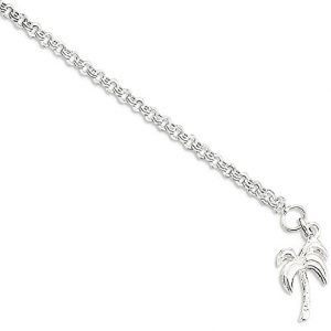 ICE CARATS 925 Sterling Silver 10 Inch Solid Palm Tree Anklet For Women Ankle Beach Chain Bracelet Seashore