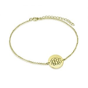 Personalized Monogram Ankle Bracelet Women Gold Sterling Silver Custom Made with Initial Anniversary Gift