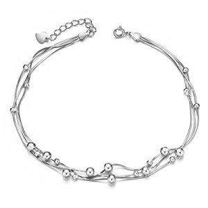 SHEGRACE 925 Sterling Silver Triple Layered Chain Anklets/Bracelet with Tiny Beads for Casual