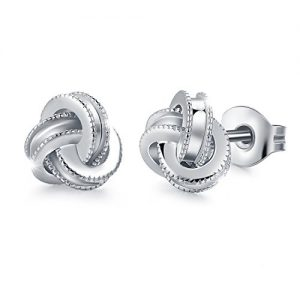 White Gold Plated Sterling Silver Studs Love Knot Earring For Women | Hypoallergenic & Nickle free Jewelry for Sensitive Ears