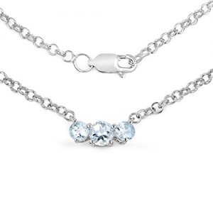 0.95 Carat Genuine Aquamarine .925 Sterling Silver Necklace