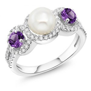1.30 Ct Round Cultured Freshwater Pearl Purple Amethyst 925 Sterling Silver Ring (Available in size 5, 6, 7, 8, 9)