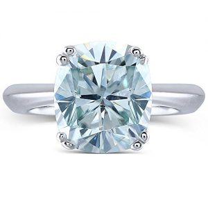 2ct 7X8mm Cushion Cut 2.4mm Width 8 Prongs Slight Blue Moissanite Engagement Rings Platinum Plated Silver