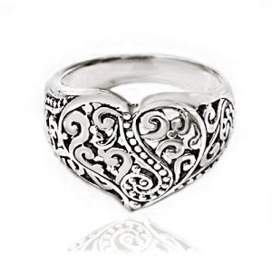 925 Oxidized Sterling Silver Detailed Filigree Heart Ring – Nickle Free