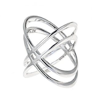 "925 Sterling Silver Double 'X' Criss Cross Ring, For Women And Girls Size 6"" 7"" 8"" 9"""