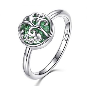 925 Sterling Silver Family Tree of Life Green Birthstone Crystal Ring Healing Ring Gift for Women Jewelry