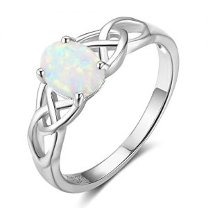 925 Sterling Silver Oval Created Opal Trinity Celtic Knot Band Ring, Size 6 7 8