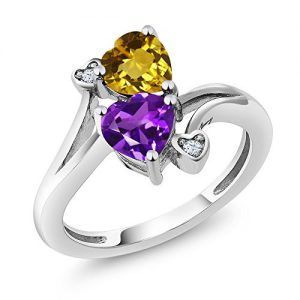 Build Your Own Ring – Personalized Birthstone Heart Ring in Rhodium Plated 925 Sterling Silver