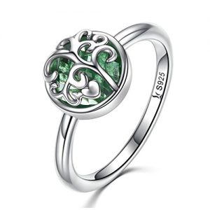 MASCOTKING 925 Sterling Silver Ring Tree of Life Finger Rings for Women Jewelry Gift