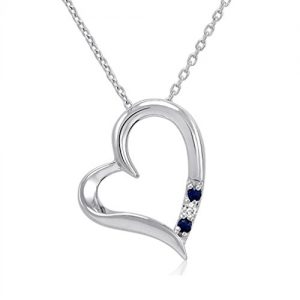 3 Stone Sapphire and Diamond Open Heart Pendant Necklace in Sterling Silver (18″ Chain)