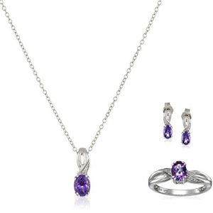 Sterling Silver Amethyst Oval with Diamond Pendant Necklace, Earrings and Ring (Size 7) Box Set