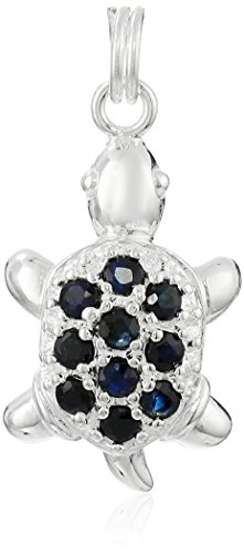 Sterling Silver and Blue Sapphire Turtle Charm
